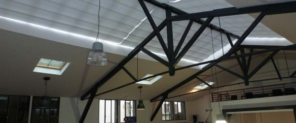 Motorised blind in a loft